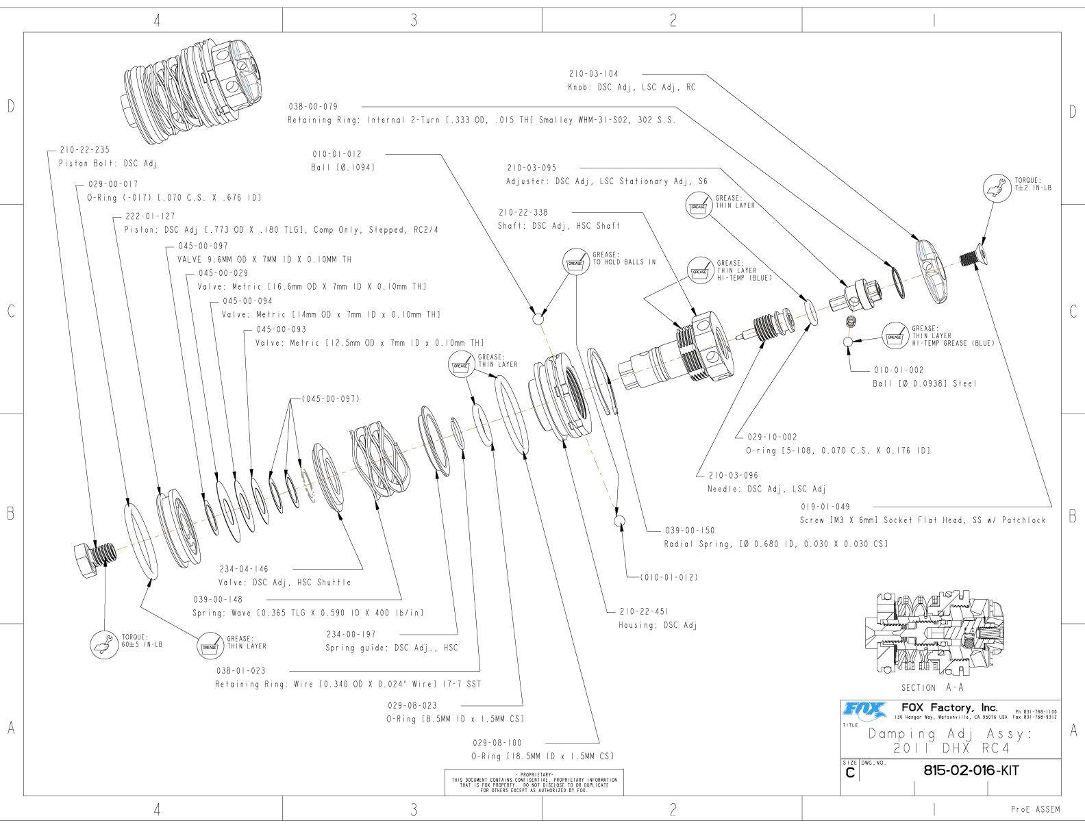 815-02-016-KIT Damping Adj Assy: 2011 DHX RC4