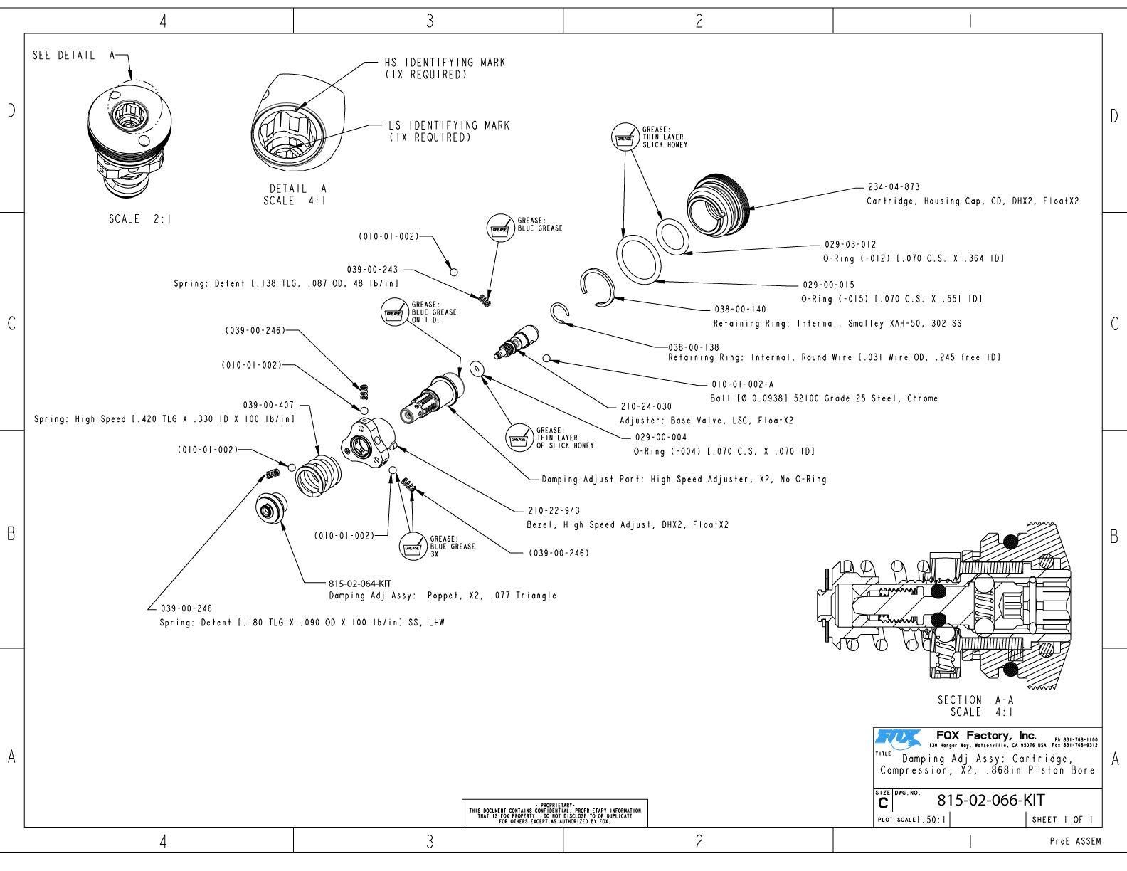 Float X2 Part Information Bike Help Center Fox No 250 15 255 8 260 4 261 5 815 02 066 Kit Damping Adj Assy Cartridge Compression 868in Bore Piston