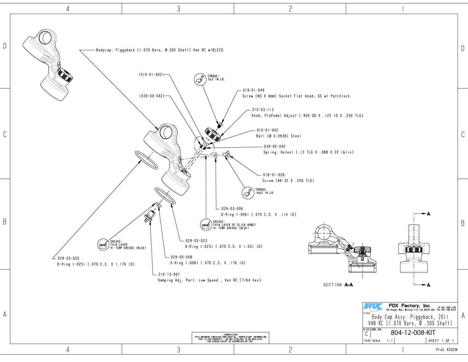 van rc part information bike help center fox SAE O-Ring Size Chart 804 12 008 kit body cap assy piggyback 2011 van rc 1 070 bore 500 shaft