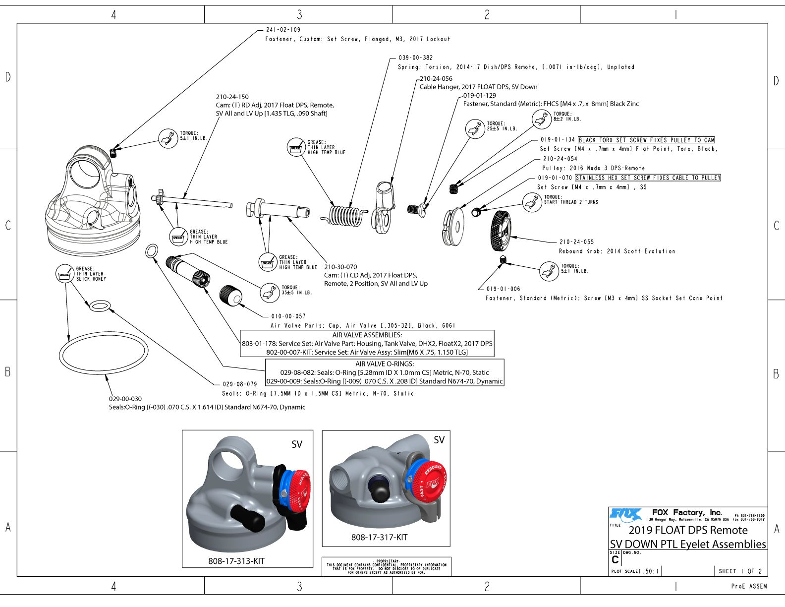 2019 FOX FLOAT DPS 190 X 45 mm Metric EVOL LV Factory Series Rear Shock Kashima