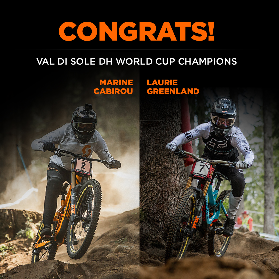 Val di Sole World Cup DH Champions - Marine Cabirou and Laurie Greenland