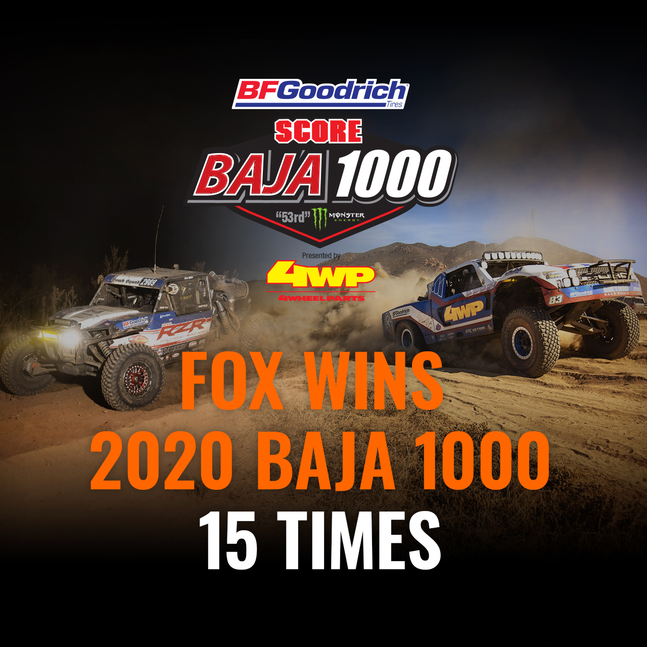 FOX Wins 2020 Baja 1000 15 times
